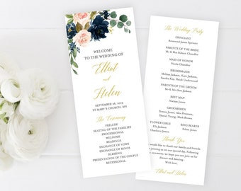Navy Blush Gold Editable Program, Navy Pink Floral Wedding Program, Blush Printable Program, DIY Template Instant Download Templett 521-A