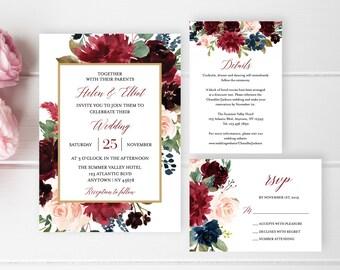 Merlot Navy Floral Frame Editable Wedding Invitation Suite, Burgundy Pink Boho Floral RSVP Details Printable Template Instant Download 520-B