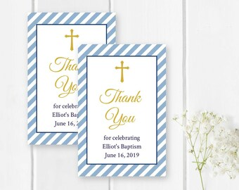 Blue and Gold Striped Baptism Favor Tag Template, Printable Editable Blue Stripe Christening Tag Custom Baptism Label Instant Download 334-W