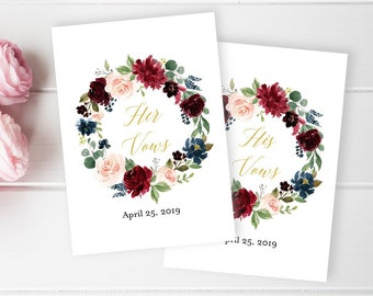 Gold Merlot His and Her Vows Template, Floral Wreath Editable Vows Cards, Personalised Vow Booklet, Custom Printable, Instant Download 520-A