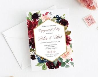 Merlot Navy Floral Editable Engagement Party Invitation, Blush Floral Frame Printable Engagement Invite, DIY Template Instant Download 520-B