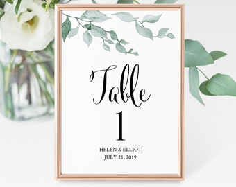 Green Leaves Editable Table Numbers, Botanical Table Numbers, Foliage Table Numbers, Leaf DIY Template, Instant Download, Templett, 517-A