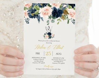 Navy Blush Gold Floral Editable Rehearsal Dinner Invitation, Pink Boho Printable Rehearsal Invite, Template Instant Download Templett 521-A