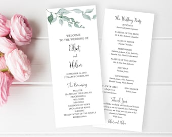 Green Leaves Editable Program, Botanical Wedding Program, Printable Foliage Program DIY Template Calligraphy Instant Download Templett 517-A