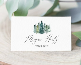Rustic Woodland Editable Place Cards, Mountians Escort Cards, Evergreen Trees Spruce Name Cards Outdoors DIY Template Instant Download 515-A
