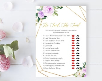 Editable Purple Gold Geometric He Said She Said Game, Lilac Gold Printable Bridal Guess Who Said It Game DIY Template Instant Download 511-A