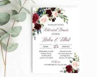 Merlot Navy Floral Editable Rehearsal Dinner Invitation, Burgundy Boho Printable Rehearsal Invite, Template Instant Download Templett 520-B