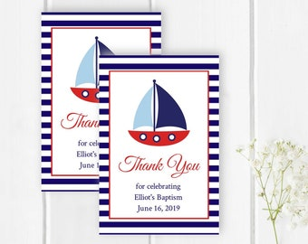 Red Navy Nautical Baptism Favor Tag Template, Printable Editable Boat Christening Tag, Custom Baptism Label, Boy Tag, Instant Download 324-R