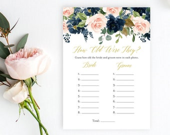 Navy Blush Gold Editable How Old Were They Game, Pink Navy Floral Printable Bridal Shower How Old Game, DIY Template, Instant Download 521-A