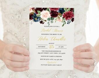 Merlot Navy Gold Editable Bridal Shower Invitation, Burgundy Floral Shower Invite DIY Template, Printable Instant Download Templett 520-A