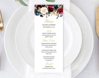 Burgundy Navy Gold Editable Menu, Merlot Floral Table Wedding Menu, Printable Boho Menu, DIY Template Calligraphy, Instant Download, 520-A