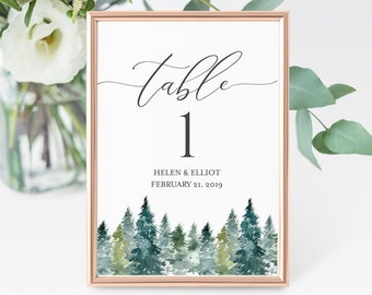 Woodland Rustic Editable Table Numbers, Mountains Printable Table Numbers, Green Tree Table Number, Template Instant Download Templett 515-A