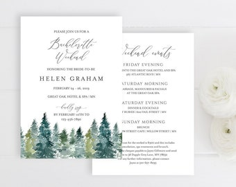 Rustic Woodland Editable Bachelorette Party Invitation, Trees Itinerary Bachelorette Weekend Printable DIY Template Instant Download 515-A