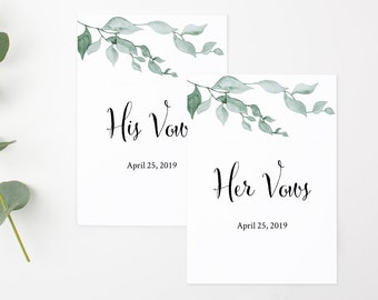 Green Leaves His and Her Vows Template, Botanical Editable Vows Cards, Personalised Vow Booklet, Custom Printable, Instant Download 517-A