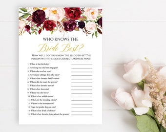 Marsala Gold Floral Editable Who Knows the Bride Best, Burgundy Printable How Well do you know the Bride, Template, Instant Download 512-A