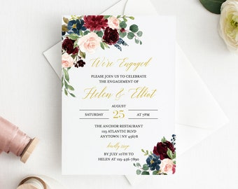 Navy Burgundy Gold Floral Editable Engagement Party Invitation, Blush Gold Printable Engagement Invite, DIY Template, Instant Download 520-A