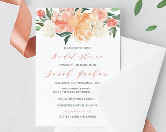 Coral Blush Editable Bridal Shower Invitation, Floral Shower Invite DIY Template, Pink Blush Boho Invite, Instant Download, Templett 501-A