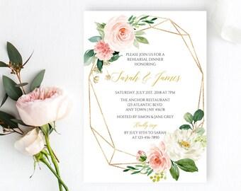 Blush Gold Geometric Editable Rehearsal Dinner Invitation, Floral Rehearsal Invite Template, Boho Printable, Instant Download Templett 503-A