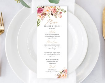 Rose Gold Boho Editable Menu, Pink Floral Table Wedding Menu, Printable Pink Peonies Menu, DIY Template, Calligraphy Instant Download 516-A