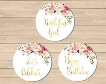 Printable Gold Boho Cupcake Toppers, Boho Birthday Party Decor, Gold Boho Buffet Decor, Gold Floral Cupcake Toppers, Instant Download 308-PG