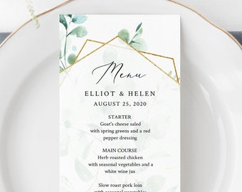 Eucalyptus Geometric Editable Menu, Greenery Gold Table Wedding Menu, Printable Botanical Menu, Foliage DIY Template, Instant Download 533-A