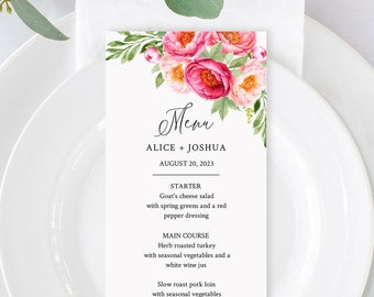 Editable Fuchsia Coral Blush Floral Menu, Peonies Table Wedding Menu, Printable Pink Floral DIY Template, Templett, Instant Download, 571-A