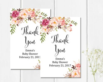 Floral Boho Baby Shower Favor Tags, Printable Personalized Boho Tags, Custom Shower Favor Labels, Floral Thank You Favor Tag, Download 308-W