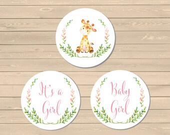 Pink Giraffe It's a Girl Baby Shower Cupcake Toppers, Printable Baby Girl Giraffe Buffet Cake Decor, Pink Giraffe, Instant Download 307-P