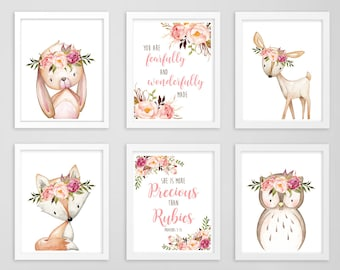 Pink Peonies Boho Forest Animals Floral Precious than Rubies Fearfully Made Printable Wall Art, Boho Nursery Art Set of 6 Download 610-A