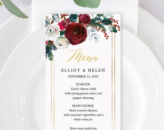 Gold Green Cranberry Floral Editable Menu, Christmas Table Wedding Menu, Printable Winter Menu, DIY Template Templett Instant Download 543-A