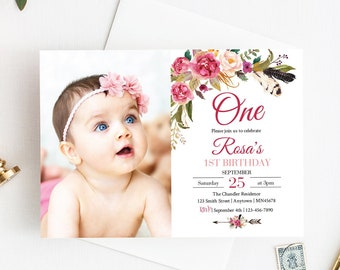 Pink Boho Floral Editable Photo Birthday Invite, Girl First Birthday Photo Invitation Template Pink Peonies Printable Instant Download 309-W