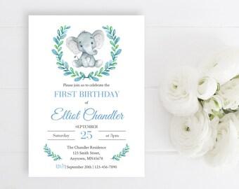 Blue Elephant First Birthday Editable Invite, Printable Birthday Invitation Template, Boy Blue Grey Gray Invitation, Instant Download, 305-B