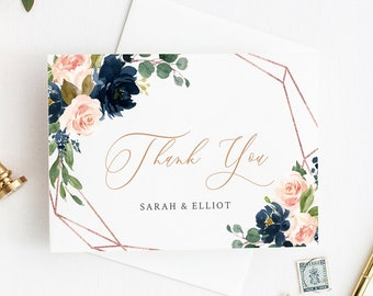 Pink Navy Rose Gold Geometric Printable Thank You Cards, Editable Blush Thank You Cards, DIY Template, Thank Instant Download Templett 529-A