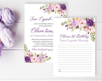 Purple Lilac Boho Editable Time Capsule, Floral Birthday Time Capsule Template, Printable Boho 1st 18th Time Capsule, Instant Download 314-W