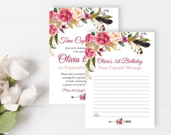 Pink Feathers Boho Editable Time Capsule, Floral First Birthday Time Capsule Template, Arrow Feathers, 1st 18th, Instant Download, 309-W