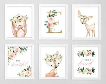 Blush Gold Floral Monogram Woodland Animals Printable Wall Art, Hello Beautiful So Loved Pink Art, Rabbit Fox Deer, Set of 6 Download 614-A