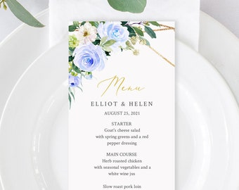 Printable Blue Gold Geometric Wedding Menu, Blue Greenery Floral Editable Menu, Boho Table Menu, Shower DIY Template, Instant Download 548-A