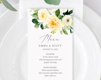 Editable Pale Yellow Boho Floral Menu, Yellow Greenery Table Wedding Menu, Lemon Green Printable Template, Templett Instant Download 558-A