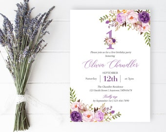 Lilac Purple Boho First Birthday Editable Invite, Printable Floral First Birthday Invitation Template Lavender Floral Instant Download 314-W
