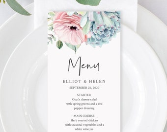 Editable Succulent Menu, Pink Blue Green Cactus Table Wedding Menu, Printable Desert DIY Template, Templett, Instant Download, 535-A