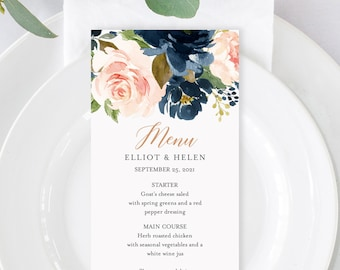 Rose Gold Navy Blush Floral Editable Menu, Pink Blue Green Table Wedding Menu, Printable Menu, Floral DIY Template, Instant Download 542-A