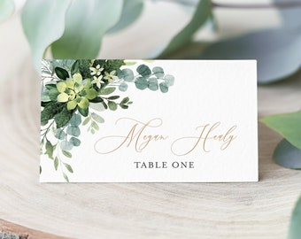 Greenery Rose Gold Editable Place Cards, Botanical Escort Cards, Eucalyptus Foliage Name Cards, DIY Template Instant Download Templett 528-A