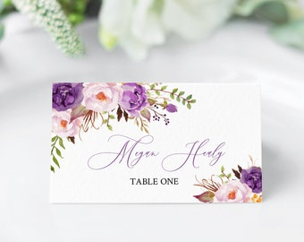 Purple Boho Editable Place Cards, Violet Lavender Floral Escort Cards, Purple Lilac Name Card, DIY Template, Instant Download Templett 530-A