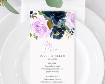 Editable Navy Lilac Boho Menu, Purple Navy Blue Floral Table Wedding Menu, Lavender Navy Printable Template, Templett Instant Download 556-A