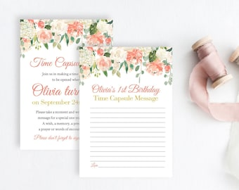 Coral Peach Gold Boho Editable Time Capsule, Blush Pink Floral First Birthday Time Capsule Template, Printable 1st 18 Instant Download 501-A
