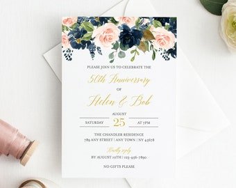 Blush Navy Gold Floral Editable Anniversary Party Invitation, Pink Blue Anniversary Invite, DIY Template, Instant Download, Templett 521-A