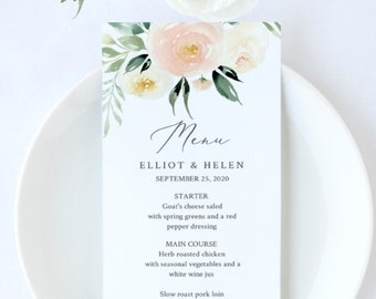 Pink Greenery Table Wedding Menu, Ivory Blush Greenery Floral Editable Menu, Printable DIY Template, Instant Download 536-A