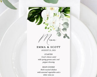 Editable Tropical Floral Wedding Menu, Orchid Protea Menu, Printable Destination Wedding Menu, Shower DIY Template, Instant Download 546-A