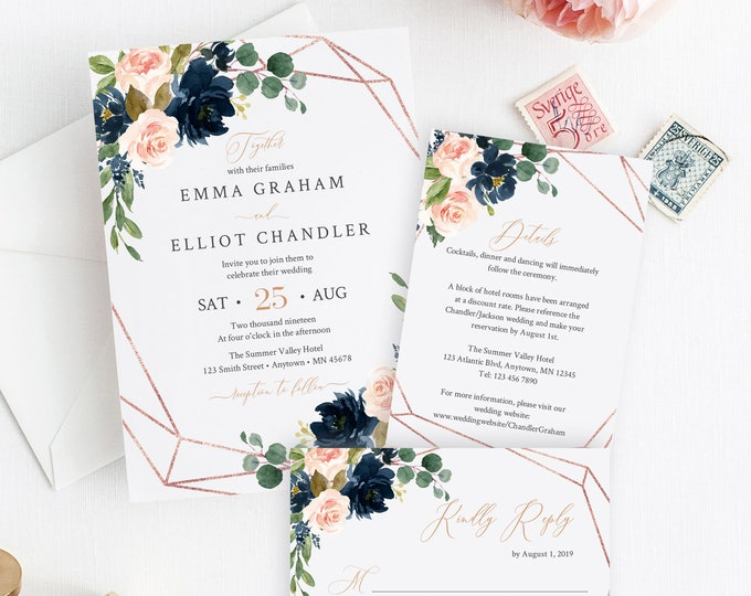 Featured listing image: Navy Blush Rose Gold Geometric Editable Wedding Invitation Suite, Floral RSVP Details, Printable Template, Instant Download, Templett, 529-A