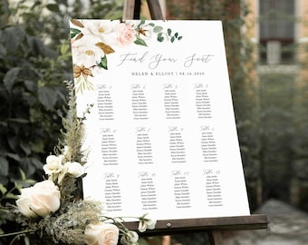 Magnolia Editable Table Plan, White Pink Floral Cotton Printable Seating Chart, 18 x 24 24 x 36, A1 A2, Template, Instant Download, 524-A